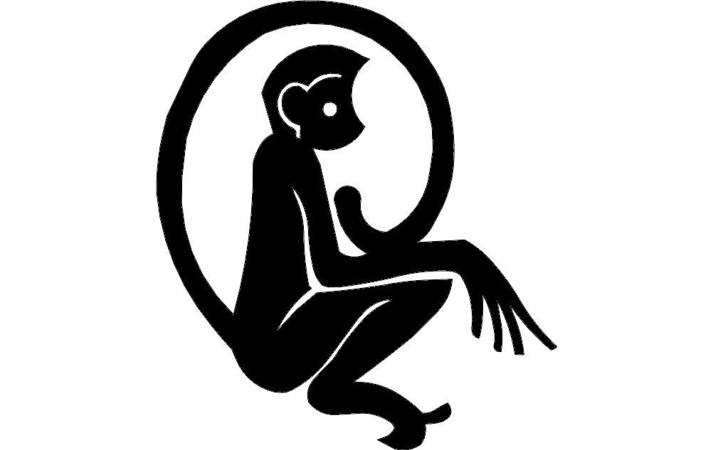 Monkey Silhouette Free DXF File