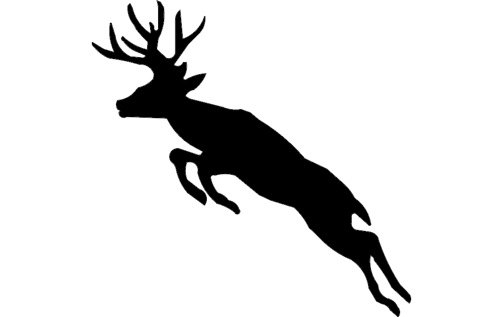 Silhouette Deer Jumping Free DXF File
