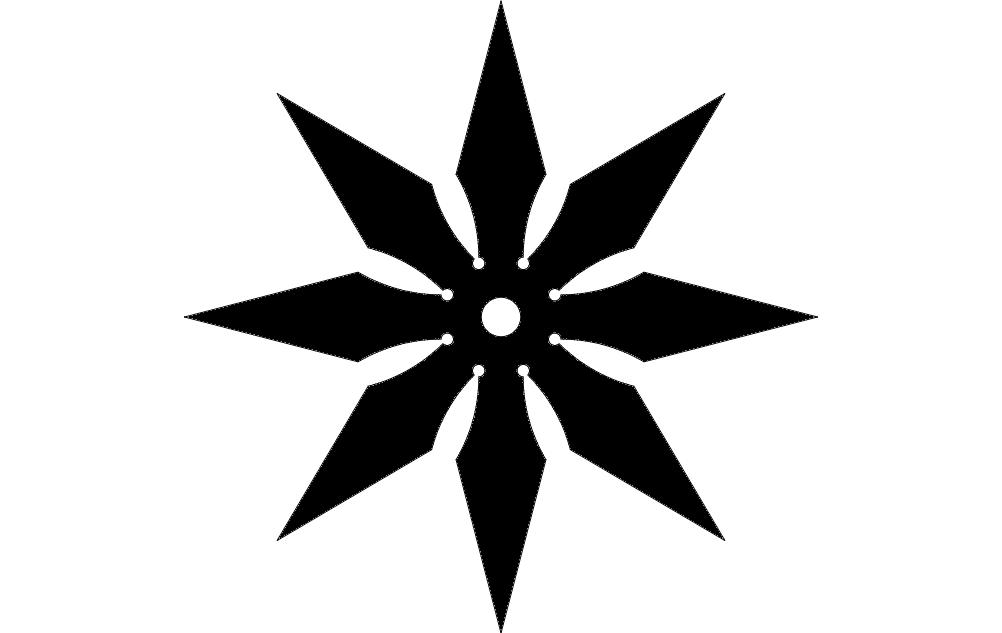 Throwing Star Free DXF File