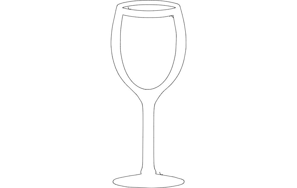 Wine Glass Free DXF File