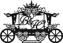 Frame Wagon Shaped Wedding Download For Laser Cut Cnc Free CDR Vectors Art