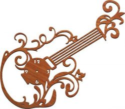 Guitar Clock Download For Laser Cut Plasma Free CDR Vectors Art