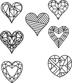 Heart Shape Designed As Crystals Free CDR Vectors Art