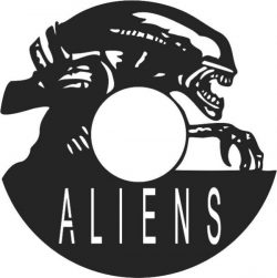 Aliens Wall Clock Free DXF File