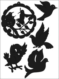 Bird Sticker Free DXF File