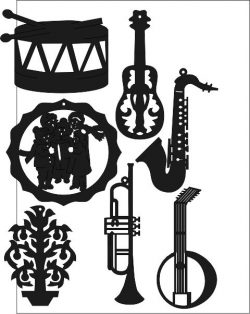 Music Instrument Sticker Free DXF File