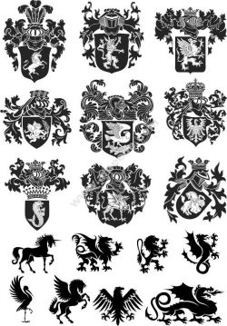 Heraldic Design Lions And Shield Free DXF File