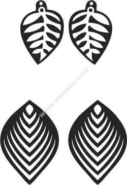 Leaf Earrings Free DXF File