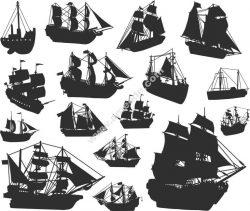 Ship Silhouette Free DXF File