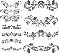 Swirl Decoration Set Free DXF File