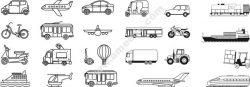 Transport Line Art Set Free DXF File