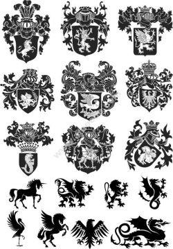 Heraldic Design Lions And Shield Free CDR Vectors Art