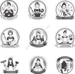 Housewife Label Set Free CDR Vectors Art