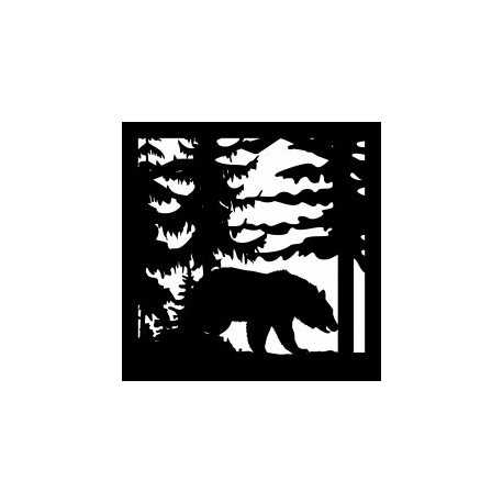 24 X 24 Bear Trees Plasma Art Cut Ready Free DXF File