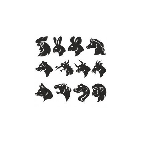 Animals Head Silhouettes Free DXF File