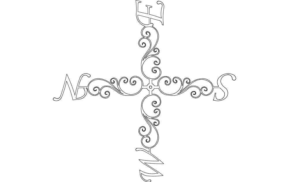 Compass Line Art Free DXF File