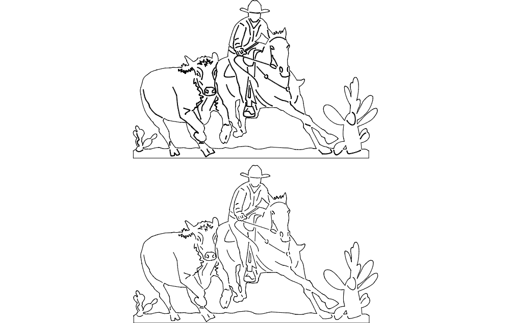 Cowboy And Rodeo Scene Free DXF File