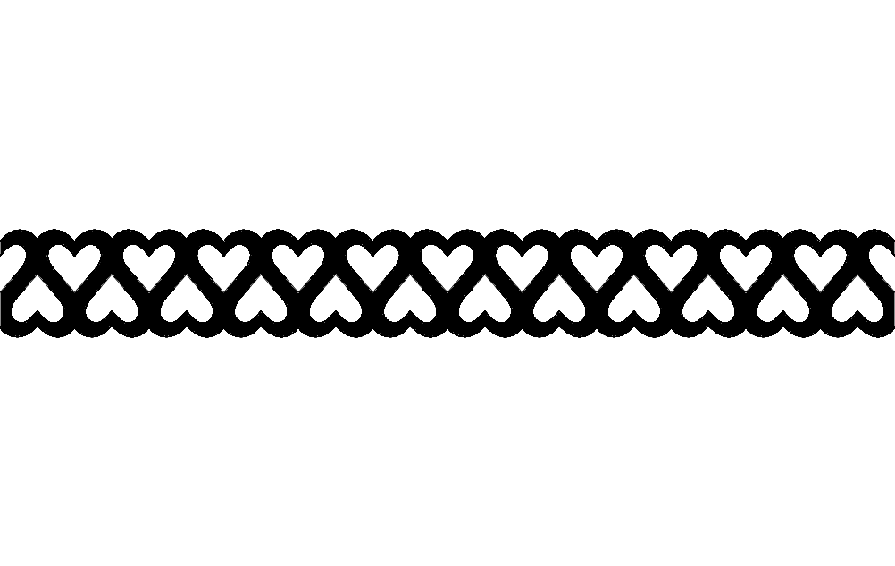 Double Heart Border Short Free DXF File