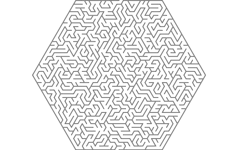 Maze Hexa Shape Free DXF File