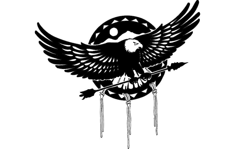 Aguia Eagle With Arrow Free DXF File