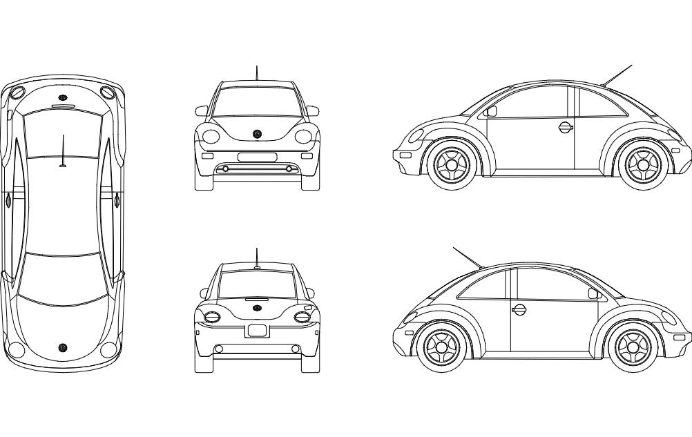 Beetle Car Free DXF File
