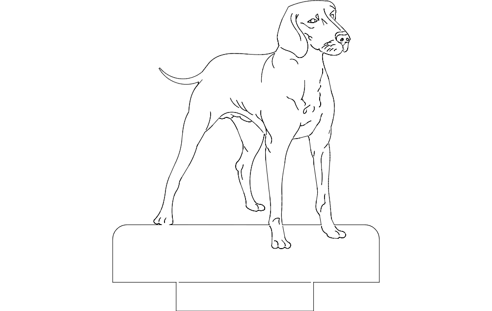 Dog Standing Strong Free DXF File