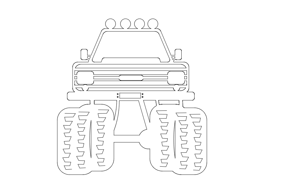 Jeep 4×4 Front Free DXF File