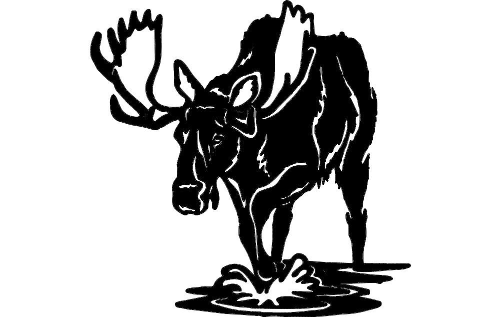 Moose With Big Horn Free DXF File