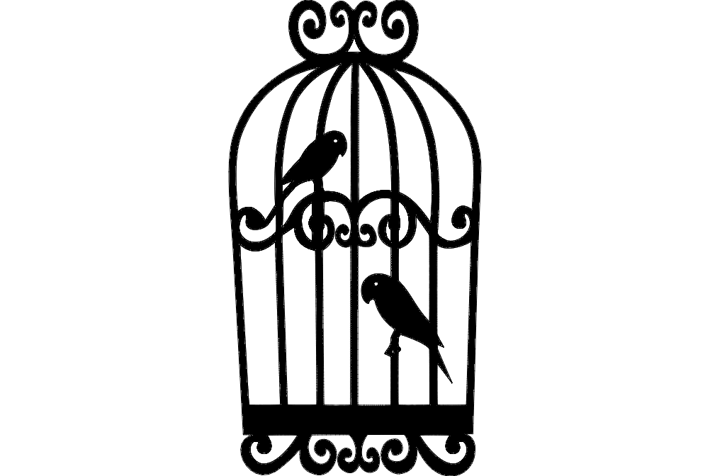 Parrots In Cage Free DXF File