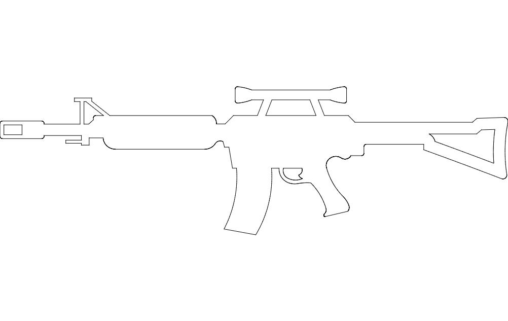 Sniper Rifle Free DXF File