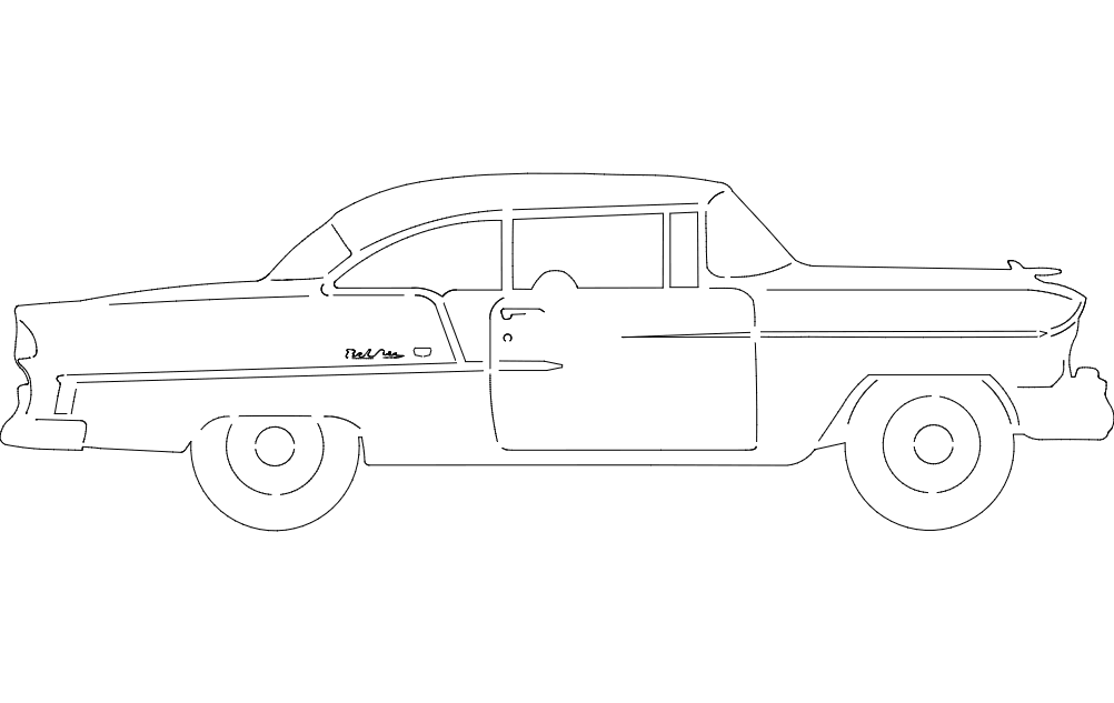 55 Chev Belair Car Free DXF File