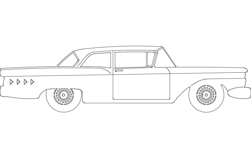 59 Ford Car Free DXF File