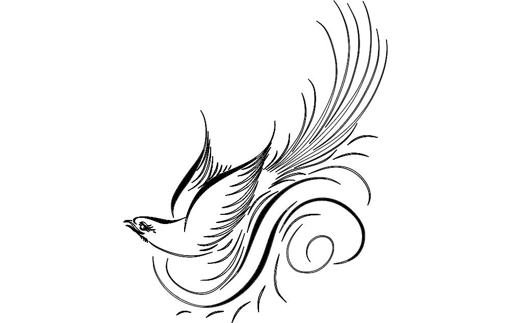 Calligraphy Bird Free DXF File