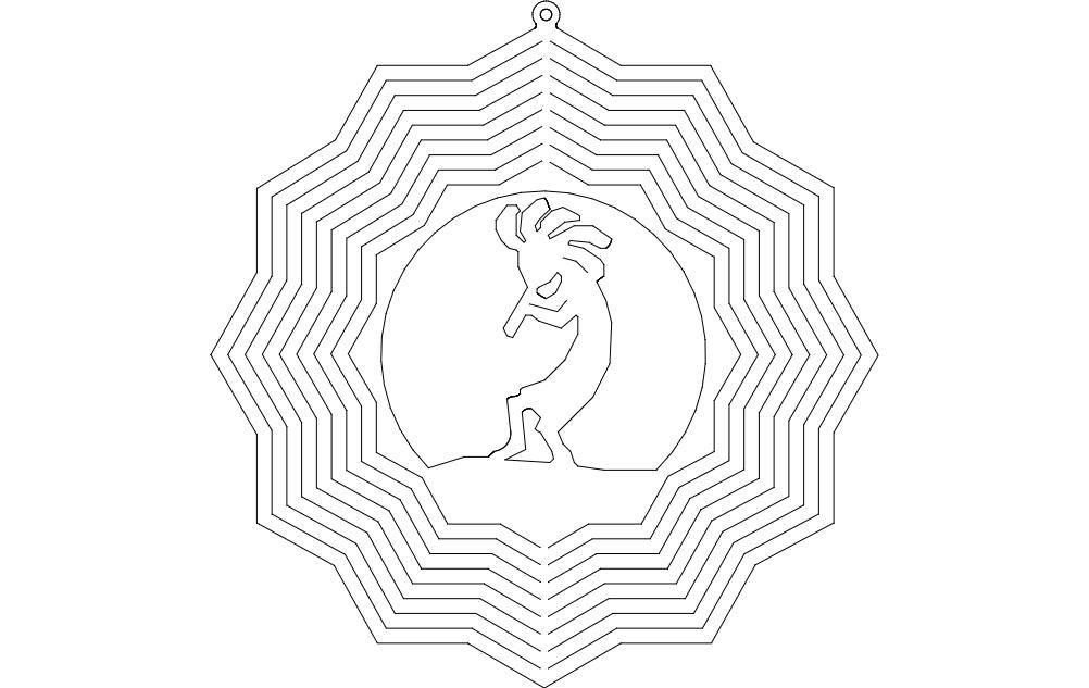 Kokopelli Wind Spinner Free DXF File