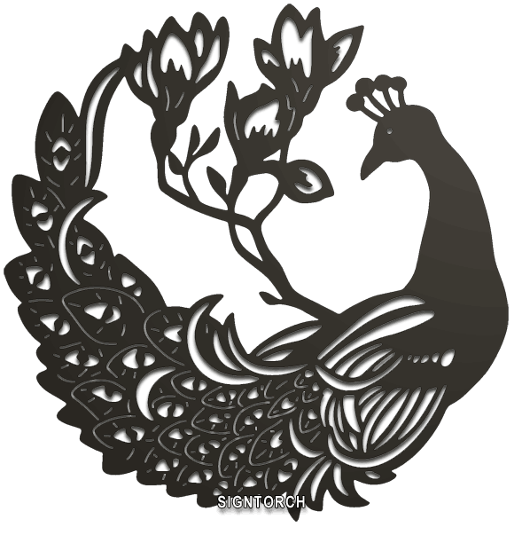 Peacock Silhouette Free DXF File