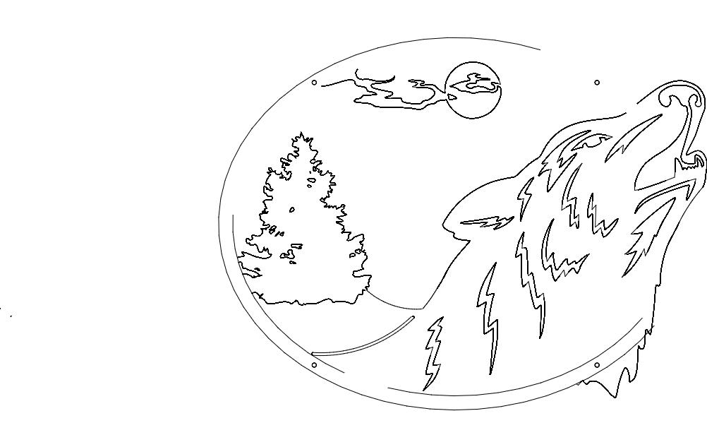 Wolf Oval Scene Free DXF File