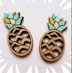 Earrings Shaped Pineapple For Laser Cut Free CDR Vectors Art