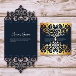 Elegant Card With Laser Cut And Gold Detail For Laser Free CDR Vectors Art