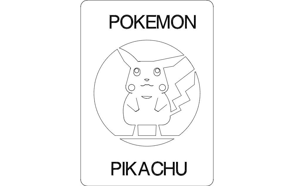 Pikachu Drawing Free DXF File