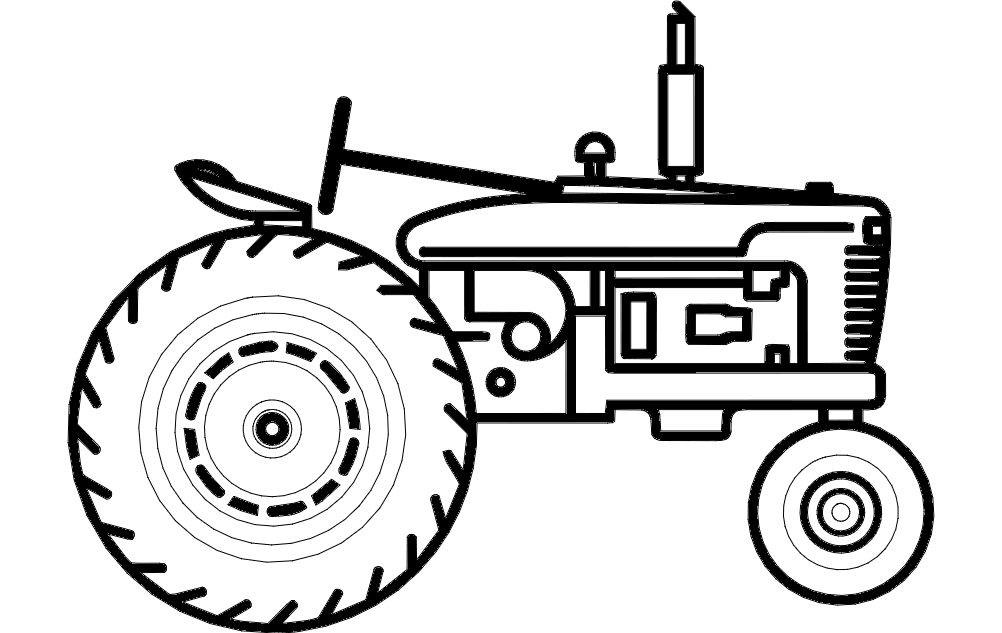 silhouette Tractor Free DXF File