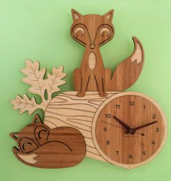 A Watch With Two Foxes For Laser Cut Cnc Free DXF File