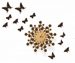 Chrysanthemum Wall Clock And Flying Butterflies For Laser Cut Plasma Free DXF File