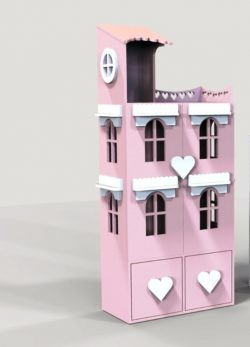 House Shaped Wardrobe Design For Laser Cut Cnc Free DXF File