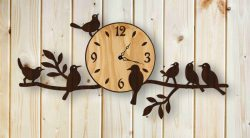 Wall Clock And Nightingale Birds For Laser Cut Cnc Free DXF File