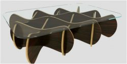 Glass Table Made Of Assembled Wood For Laser Cut Cnc Free DXF File