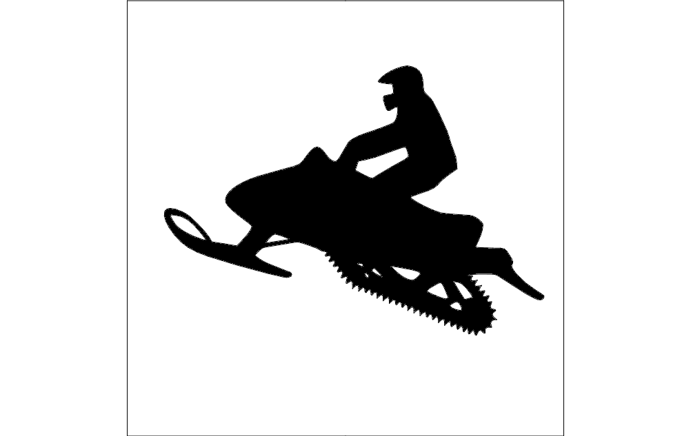 Snowmobile Silhouette Free DXF File