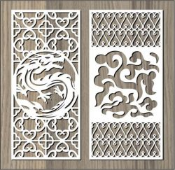 Dragon And Cloud Pattern For Laser Cut Cnc Free CDR Vectors Art