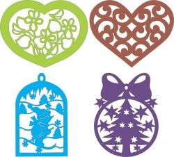 Heart Shaped Hanging On The Tree For Laser Cut Cnc Free CDR Vectors Art