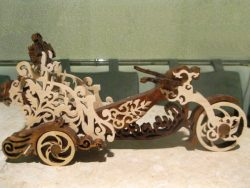 Motorbike With Bottle Of Wine For Laser Cut Cnc Free CDR Vectors Art