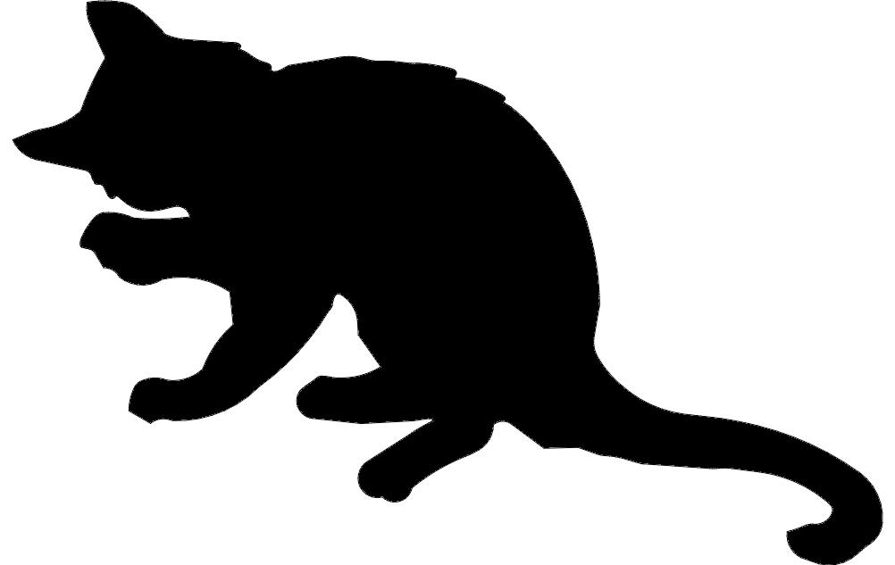 Kitten Silhouette Free DXF File